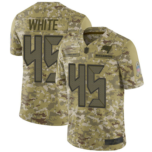 Buccaneers #45 Devin White Camo Youth Stitched Football Limited 2018 Salute to Service Jersey