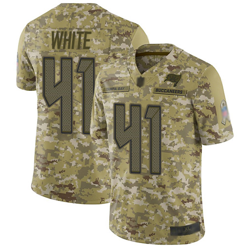 Buccaneers #41 Devin White Camo Youth Stitched Football Limited 2018 Salute to Service Jersey
