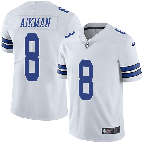 Cowboys #8 Troy Aikman White Youth Stitched Football Vapor Untouchable Limited Jersey