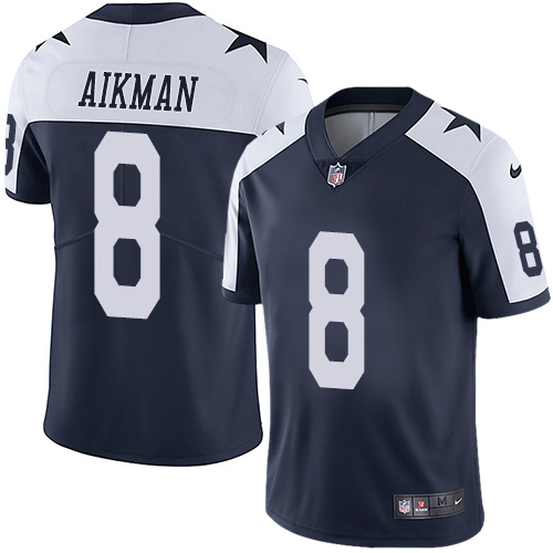 Cowboys #8 Troy Aikman Navy Blue Thanksgiving Youth Stitched Football Vapor Untouchable Limited Throwback Jersey
