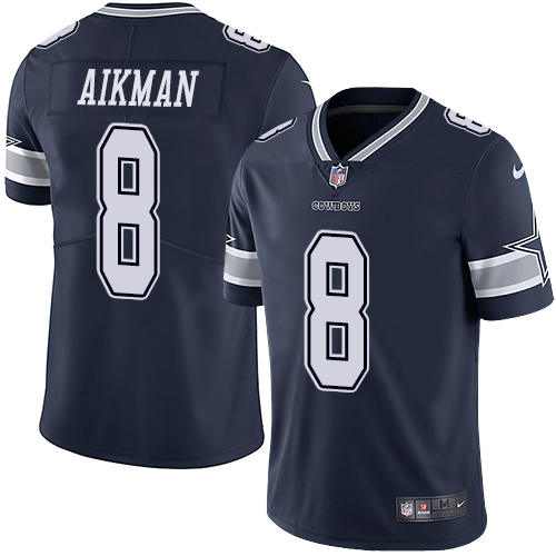 Cowboys #8 Troy Aikman Navy Blue Team Color Youth Stitched Football Vapor Untouchable Limited Jersey
