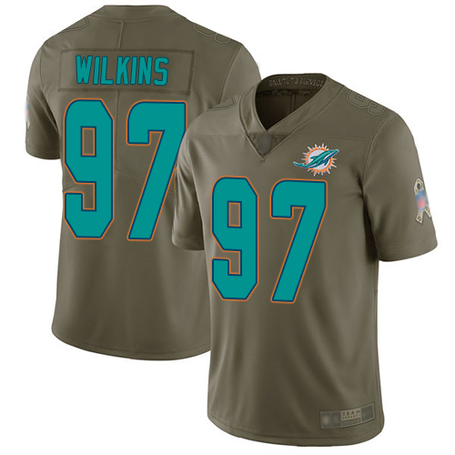 Dolphins #97 Christian Wilkins Olive Youth Stitched Football Limited 2017 Salute to Service Jersey