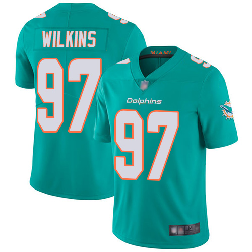 Dolphins #97 Christian Wilkins Aqua Green Team Color Youth Stitched Football Vapor Untouchable Limited Jersey