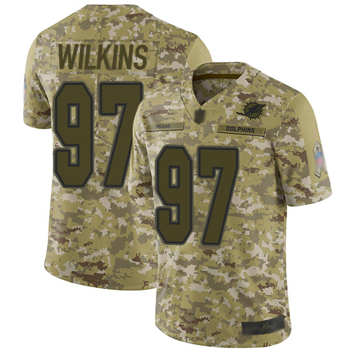 Dolphins #97 Christian Wilkins Camo Youth Stitched Football Limited 2018 Salute to Service Jersey
