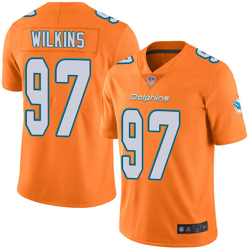 Dolphins #97 Christian Wilkins Orange Youth Stitched Football Limited Rush Jersey
