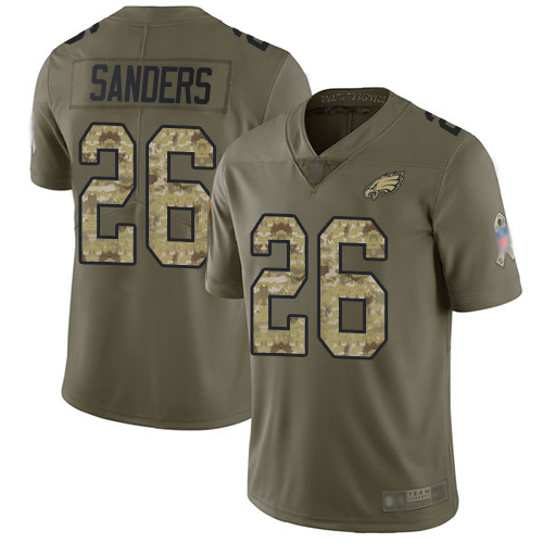 Eagles #26 Miles Sanders Olive Camo Youth Stitched Football Limited 2017 Salute to Service Jersey