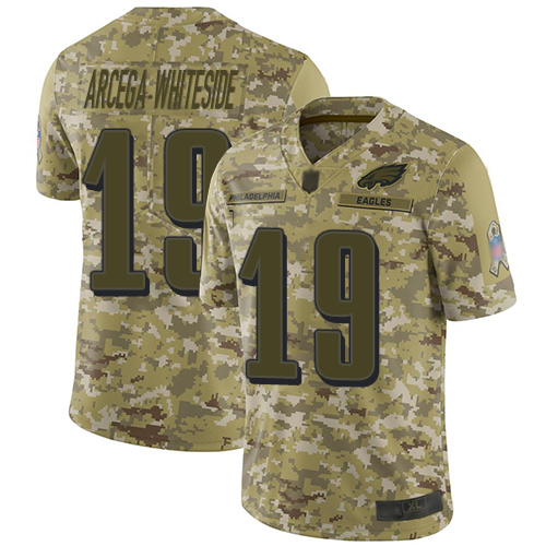 Eagles #19 JJ Arcega-Whiteside Camo Youth Stitched Football Limited 2018 Salute to Service Jersey