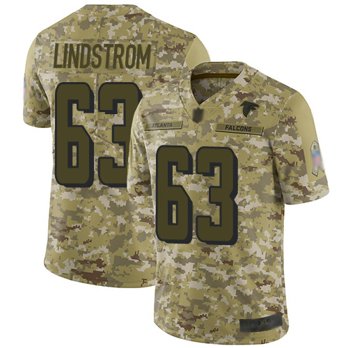 Falcons #63 Chris Lindstrom Camo Youth Stitched Football Limited 2018 Salute to Service Jersey