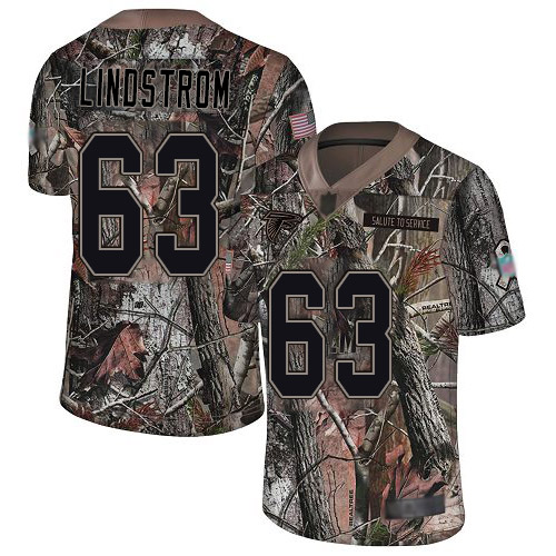 Falcons #63 Chris Lindstrom Camo Youth Stitched Football Limited Rush Realtree Jersey