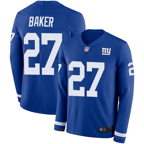 Giants #27 Deandre Baker Royal Blue Team Color Youth Stitched Football Limited Therma Long Sleeve Jersey