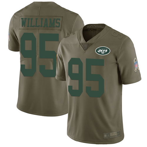 Jets #95 Quinnen Williams Olive Youth Stitched Football Limited 2017 Salute to Service Jersey