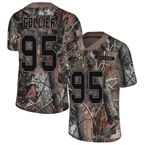 Seahawks #95 L.J. Collier Camo Youth Stitched Football Limited Rush Realtree Jersey