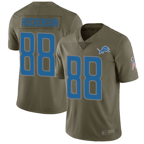 Lions #88 T.J. Hockenson Olive Youth Stitched Football Limited 2017 Salute to Service Jersey