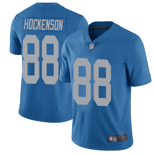 Lions #88 T.J. Hockenson Blue Throwback Youth Stitched Football Vapor Untouchable Limited Jersey
