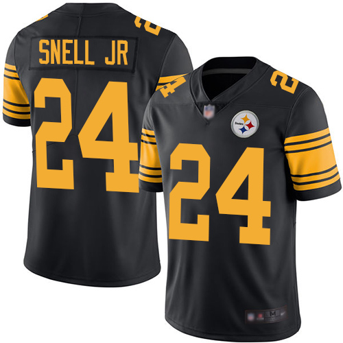 Steelers #24 Benny Snell Jr. Black Youth Stitched Football Limited Rush Jersey