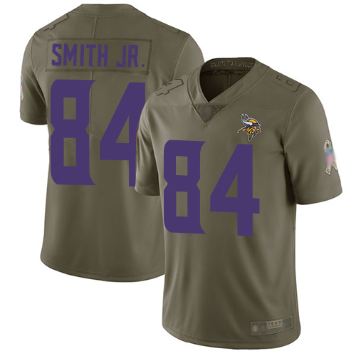 Vikings #84 Irv Smith Jr. Olive Youth Stitched Football Limited 2017 Salute to Service Jersey