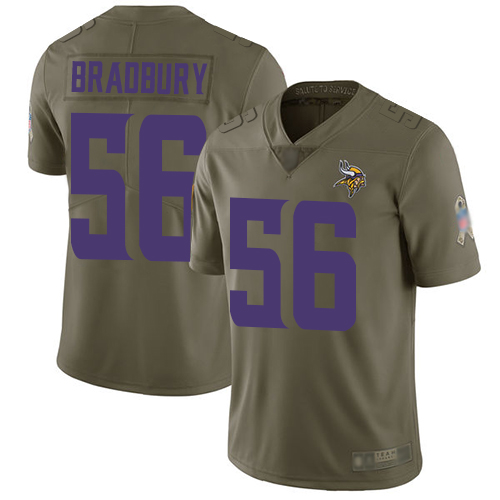 Vikings #56 Garrett Bradbury Olive Youth Stitched Football Limited 2017 Salute to Service Jersey