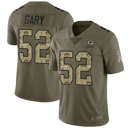 Packers #52 Rashan Gary Olive Camo Youth Stitched Football Limited 2017 Salute to Service Jersey