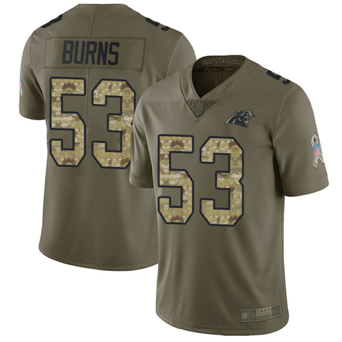 Panthers #53 Brian Burns Olive Camo Youth Stitched Football Limited 2017 Salute to Service Jersey