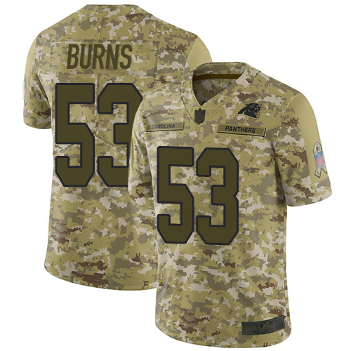 Panthers #53 Brian Burns Camo Youth Stitched Football Limited 2018 Salute to Service Jersey