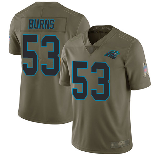 Panthers #53 Brian Burns Olive Youth Stitched Football Limited 2017 Salute to Service Jersey