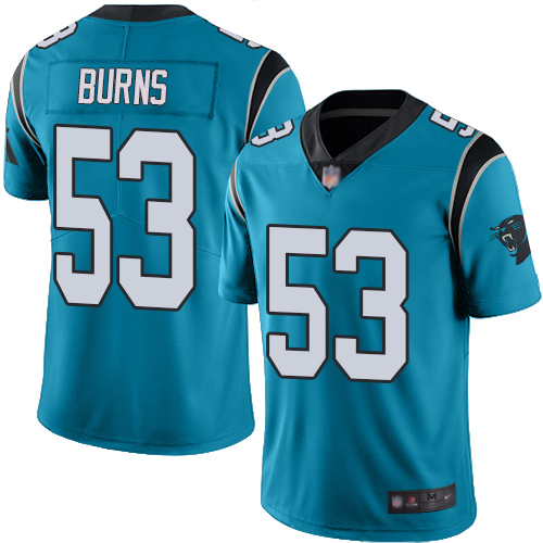 Panthers #53 Brian Burns Blue Youth Stitched Football Limited Rush Jersey