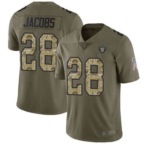 Raiders #28 Josh Jacobs Olive Camo Youth Stitched Football Limited 2017 Salute to Service Jersey