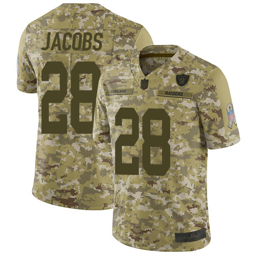 Raiders #28 Josh Jacobs Camo Youth Stitched Football Limited 2018 Salute to Service Jersey