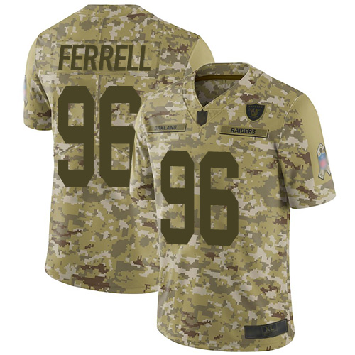 Raiders #96 Clelin Ferrell Camo Youth Stitched Football Limited 2018 Salute to Service Jersey