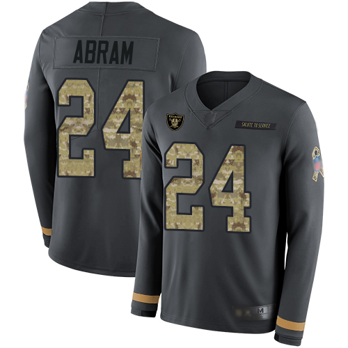 Raiders #24 Johnathan Abram Anthracite Salute to Service Youth Stitched Football Limited Therma Long Sleeve Jersey