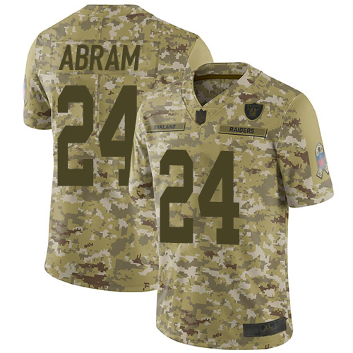 Raiders #24 Johnathan Abram Camo Youth Stitched Football Limited 2018 Salute to Service Jersey