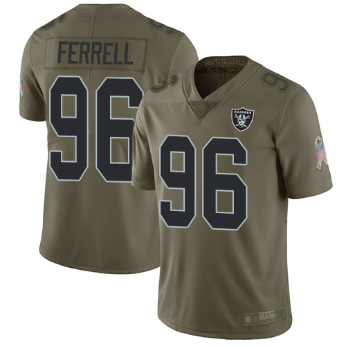 Raiders #96 Clelin Ferrell Olive Youth Stitched Football Limited 2017 Salute to Service Jersey