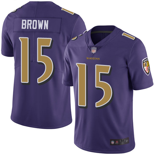 Ravens #15 Marquise Brown Purple Youth Stitched Football Limited Rush Jersey