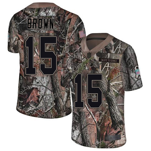 Ravens #15 Marquise Brown Camo Youth Stitched Football Limited Rush Realtree Jersey