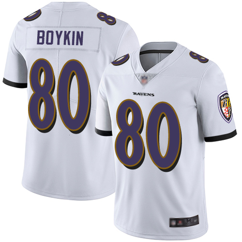Ravens #80 Miles Boykin White Youth Stitched Football Vapor Untouchable Limited Jersey