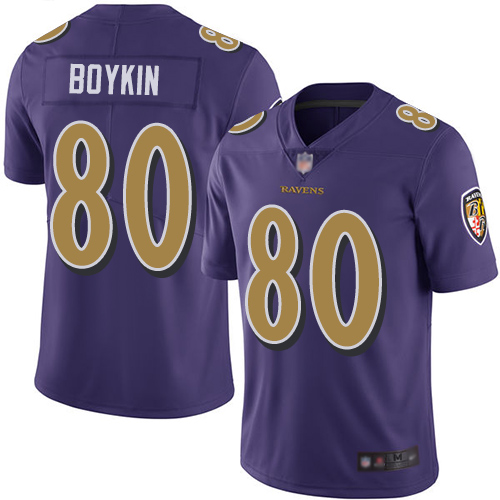 Ravens #80 Miles Boykin Purple Youth Stitched Football Limited Rush Jersey