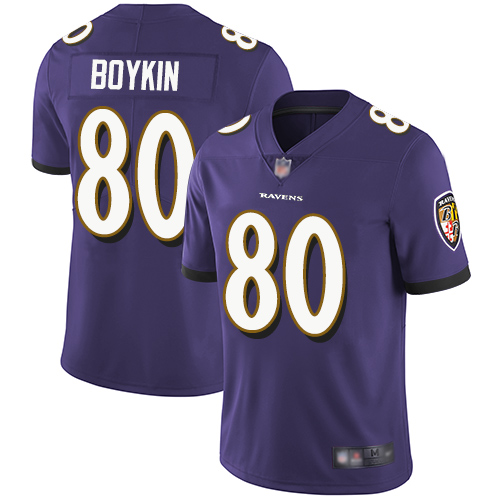 Ravens #80 Miles Boykin Purple Team Color Youth Stitched Football Vapor Untouchable Limited Jersey