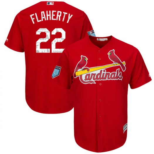 Men's St. Louis Cardinals #22 Jack Flaherty Scarlet Cool Base 2018 Spring Training Jersey