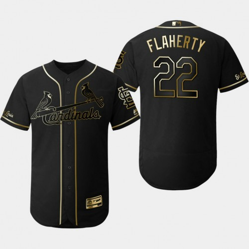 Men's St. Louis Cardinals #22 Jack Flaherty 2019 Golden Edition Black Flex Base Jersey