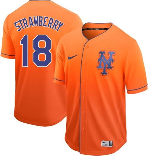 Mets #18 Darryl Strawberry Orange Fade Authentic Stitched Baseball Jersey