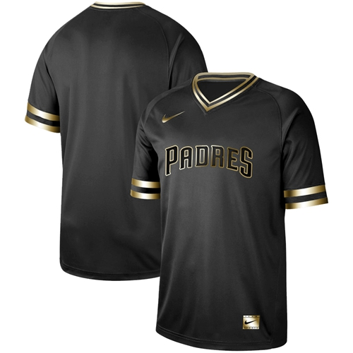 Padres Blank Black Gold Authentic Stitched Baseball Jersey