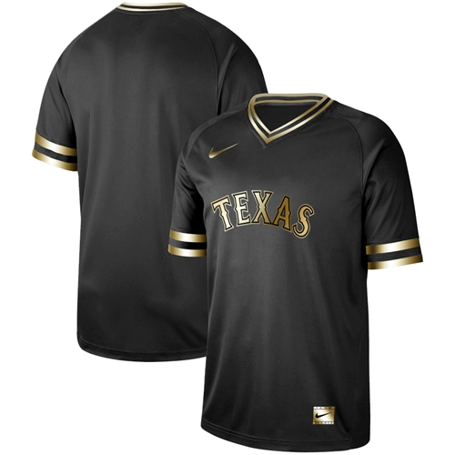 Rangers Blank Black Gold Authentic Stitched Baseball Jersey