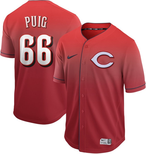 Reds #66 Yasiel Puig Red Fade Authentic Stitched Baseball Jersey