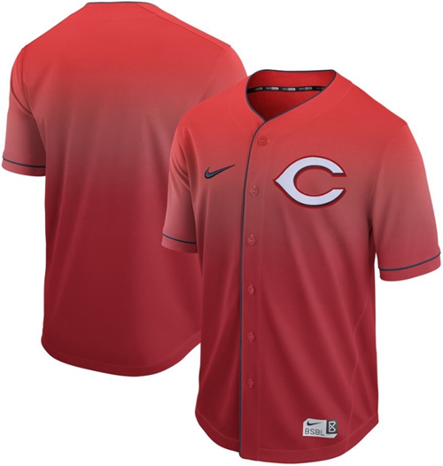 Reds Blank Red Fade Authentic Stitched Baseball Jersey
