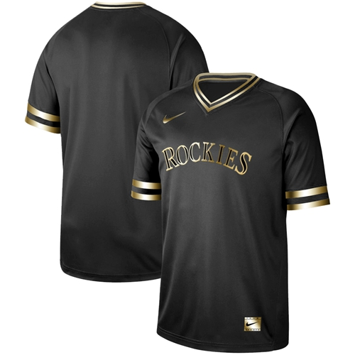 Rockies Blank Black Gold Authentic Stitched Baseball Jersey