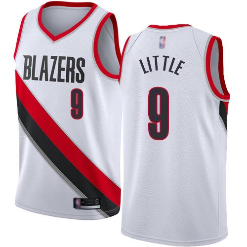 Blazers #9 Nassir Little White Basketball Swingman Association Edition Jersey