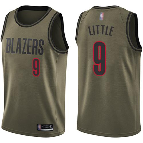 Blazers #9 Nassir Little Green Salute to Service Basketball Swingman Jersey