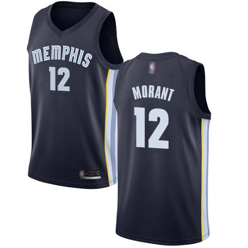 Grizzlies #12 Ja Morant Navy Blue Basketball Swingman Icon Edition Jersey