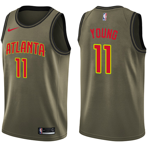 Hawks #11 Trae Young Green Basketball Swingman Salute to Service Jersey