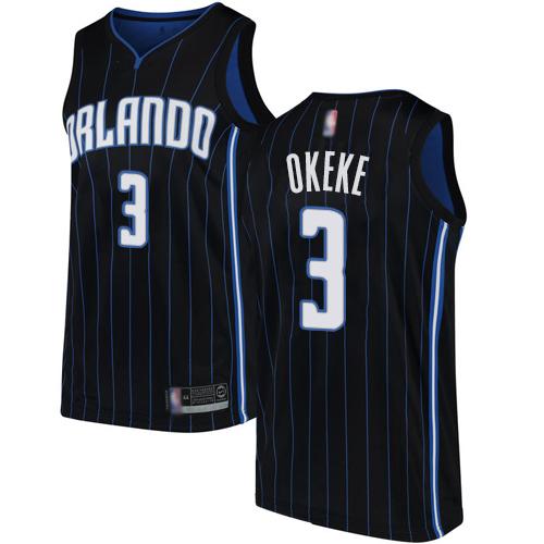 Magic #3 Chuma Okeke Black Basketball Swingman Statement Edition Jersey